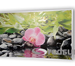 Infrared heating panel with a picture orchid