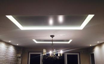 Два инфрачервени панела за отопление монтирани на таван в хол 20 м2