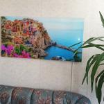 Стъклен инфрачервен панел за отопление с картина монтиран в хол