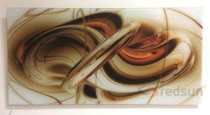 Инфрачервен панел за отопление с бяло стъкло 800 вата с абстрактна картина