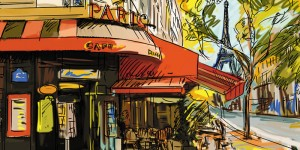 Картина за инфрачервен панел за отопление размер L 60х120 см Париж на картина (L)