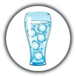 Glass of water and ice cubes