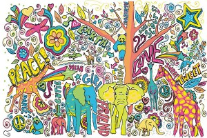 Картина за инфрачервен панел за отопление размер М 60х90 см Да си нарисуваме животно (М)