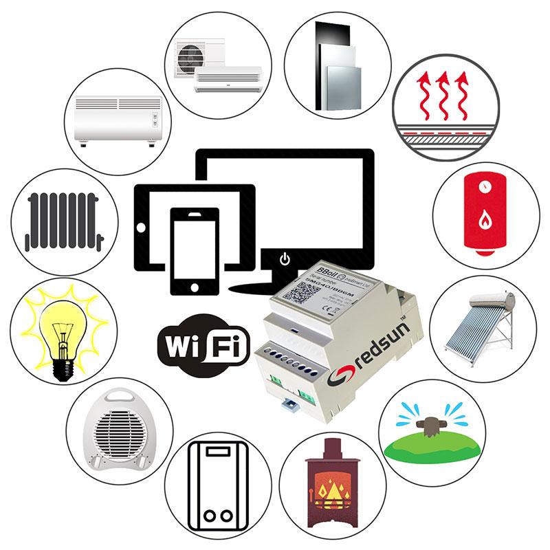 WiFi интернет контрол на отопление, охлаждане и топла вода през телефон, таблет, компютър