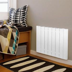 Rib aluminum radiator for heating installed in bedroom