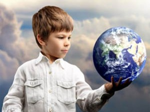 Child holding the Earth in his left hand