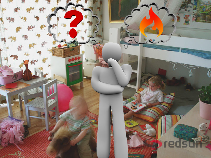 Man in kids room wondering what heating is most appropriate