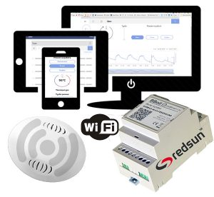 Wireless WiFi Internet programmable thermostat BBoil RF for control of systems for heating, cooling, hot water, lighting