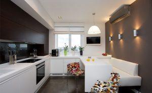 Inverter air conditioner installed in a kitchen