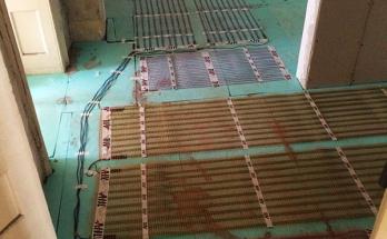 Нагревателни рогозки за инфрачервено подово отопление монтирани/положени в антре на апартамент в София-център