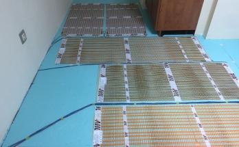 Положена изолация на пода от XPS 2 см и рогозки за подово отопление на ток