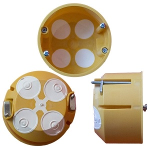 Кръгла розетна PVC кутия за вграждане в стена или гипсокартон