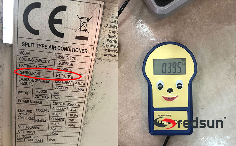 Сравнение между фабрично заредено и извлечено количество фреон 410 А